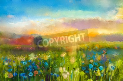 Papiers peints Peinture à l'huile fleurs pissenlit, bleuet, marguerite dans les champs. Paysage de pré de coucher du soleil avec le wildflower, la colline et le ciel dans le fond orange et bleu de couleur. Peinture