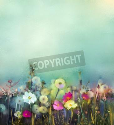 Papiers peints Peinture à l'huile fleurs pissenlit, pavot, marguerite dans les champs. Peinture à la main Wildflowers champ en prairie d'été. Printemps floral saisonnier nature avec bleu - vert dans fond de couleur