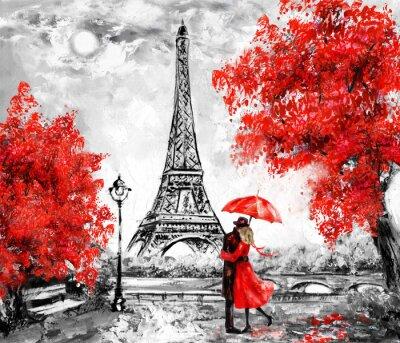 Papiers peints Peinture à l'huile, Paris. Paysage de la ville européenne. France, Papier peint, tour eiffel. Noir, blanc et rouge, art moderne. Couple sous un parapluie sur la rue