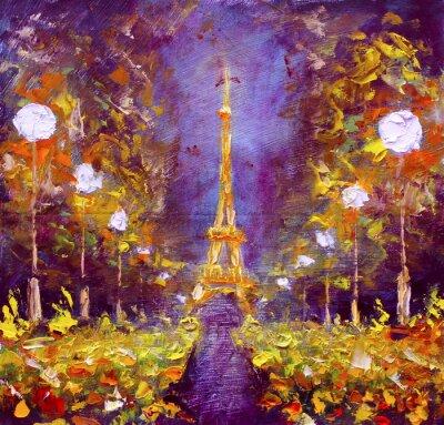 Papiers peints Peinture à l'huile - Tour Eiffel dans la nuit France par Rybakow