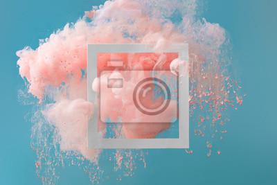 Papiers peints Peinture abstraite de couleur rose pastel avec un arrière-plan bleu pastel ... Composition fluide avec espace de copie. Luxe naturel minimal.