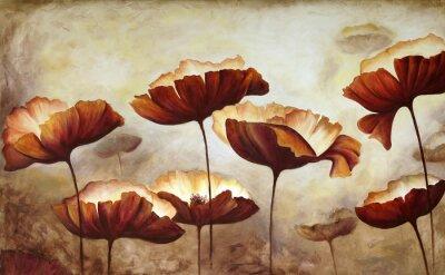 Papiers peints Peinture, coquelicots, toile