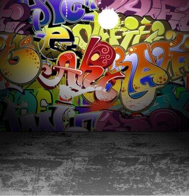 Papiers peints Peinture d'art de mur de graffiti de rue en milieu urbain