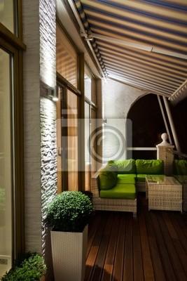 Penthouse Appartement Balcon Avec Terrasse En Bois Papier Peint