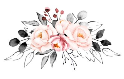 Papiers peints Peonies, watercolor pink and gray flowers. Floral summer vintage illustration isolated on white background. Hand drawing. Perfectly for wedding, birthday, party, other greetings design.