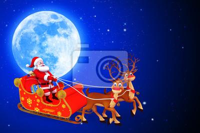 Image Du Pere Noel Sur Son Traineau.Papiers Peints Pere Noel Avec Son Traineau Debout Devant La Lune