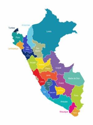 Papiers peints Pérou Carte Régions Vector
