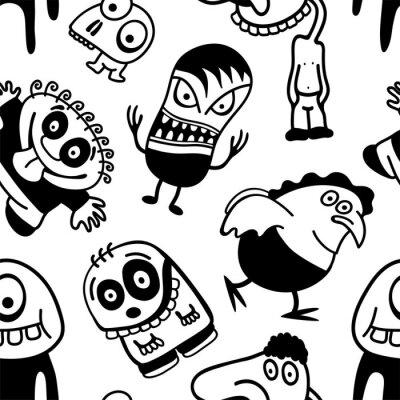 Papiers peints Personnages de dessin animé drôles seamless pattern.