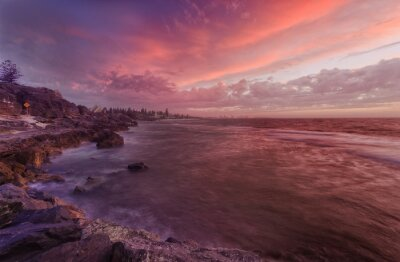 Papiers peints PERTH plage rochers coucher de soleil