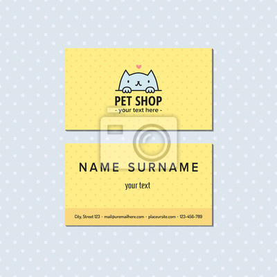 Papiers Peints Pet Shop Jaune Carte De Visite Vectorielle Logo Multicolore Mignon Avec Le Chat