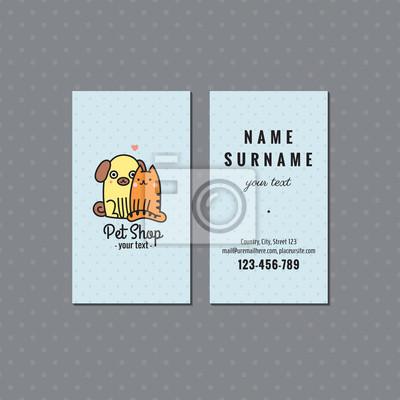 Papiers Peints Pet Shop Light Blue Carte De Visite Vectorielle Logo Multicolore Mignon Avec Le