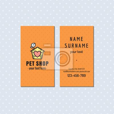 Papiers Peints Pet Shop Orange Carte De Visite Vectorielle Logo Multicolore Mignon Avec L