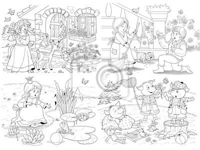 Coloriage Blanche Neige Et Cendrillon.Petit Ensemble Dillustrations De Conte De Fees Blanche Neige Papier