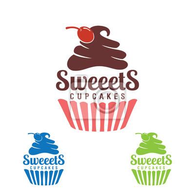 Papiers peints Petit gâteau doux, logo de boulangerie,