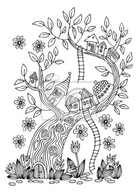 Coloriage Arbre Anti Stress.Petit Village Fantastique Sur Larbre Image Dessinee A La Main