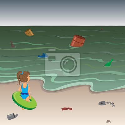 Papiers Peints Petite Fille Déçue Avec Flotteur Sur La Plage Dune Mer Polluée