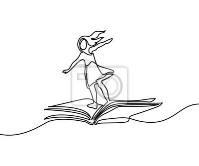 Papiers Peints Petite Fille Volant Sur Le Livre Dans Le Ciel Illustration Vectorielle