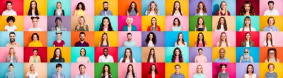 Papiers peints Photo collage of cheerful excited glad optimistic crowd of different human have toothy beaming smile wear casual clothes isolated over bright multicolored background