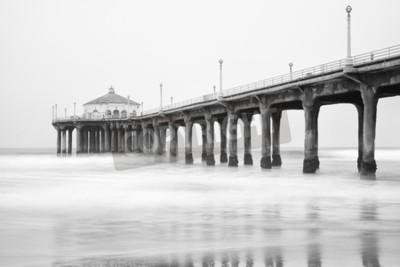 Papiers peints Photo en noir et blanc de Manhattan Beach Pier, en Californie.