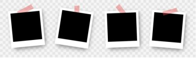 Papiers peints Photo Frame Collection. Polaroid photo frame set.Photo frames with realistic drop shadow vector effect isolated design.Photo frames fixed with adhesive tape on a transparent. Vector design background