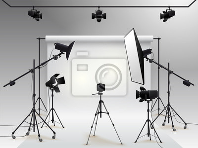 Papiers peints Photography studio vector. Photo studio white blank background with soft box light, camera, tripod and backdrop. Vector illustration. Isolated on white background