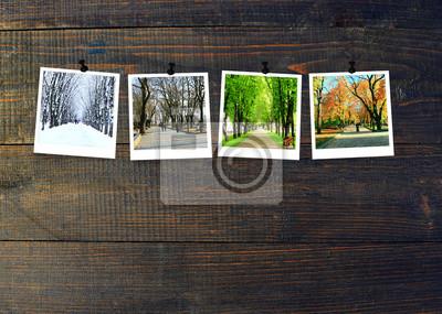 Papiers peints Photos de quatre saisons attachées à un mur en bois sombre. Saisons sur fond sombre