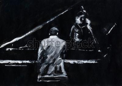 Papiers peints Pianiste et contrebassiste. Concert de groupe de jazz. Le pianiste et le joueur de contrebasse se produisent sur scène. Élégante peinture abstraite en noir et blanc. Vue arrière et latérale. Musiciens