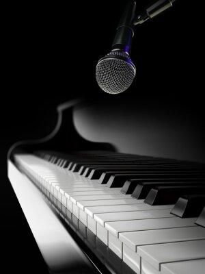Papiers peints Piano, touches, noir, piano, microphone