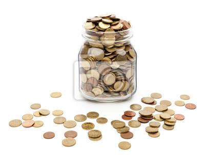 Pièces de monnaie dans un bocal