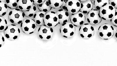 Papiers peints Pile de ballons de football classiques isolé sur blanc avec copie espace