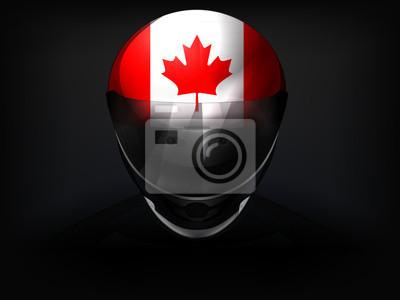 Pilote canadien avec le drapeau sur le vecteur de casque gros plan