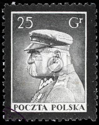 Pilsudski sur ongles timbre postal