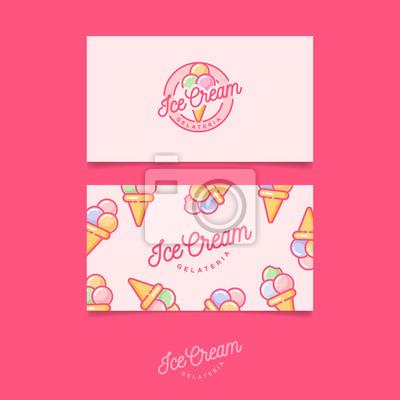 Pink Logo Ice Cream Embleme De Creme Glacee Italienne Logo Papier