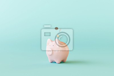 Papiers peints Pink piggy bank with coins on pastel blue background. 3d rendering