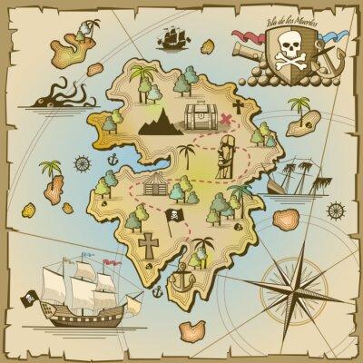 Papiers peints Pirate, trésor, île, vecteur, carte