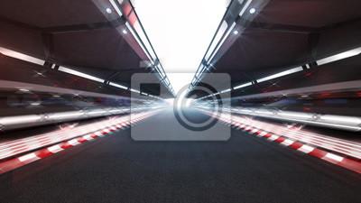 piste de course éclairée avec lumières brillantes et flou de mouvement