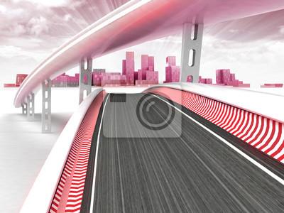 pistes de course menant à la ville de gratte-ciel moderne avec ciel coucher de soleil