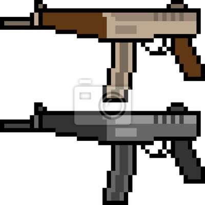 Papiers Peints Pistolet Mitrailleur Pixel Art Vectoriel