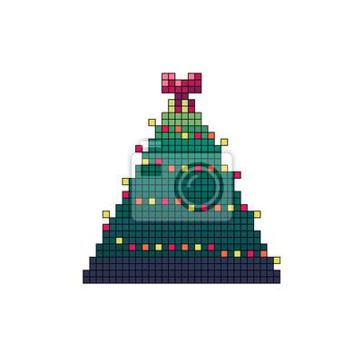 Papiers Peints Pixel Art Décoré De Sapin De Noël