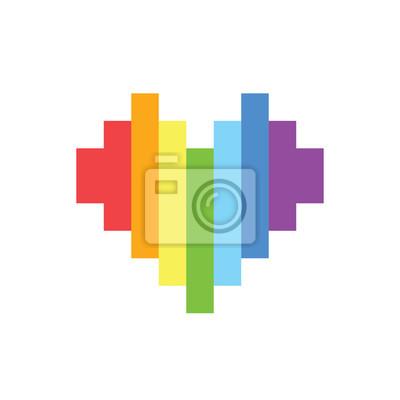 Papiers Peints Pixel Art Style Arc En Ciel Homosexuel Coeur Vecteur Signe