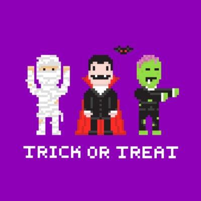 Papiers Peints Pixel Art Style De Jeu Dessin Animé Halloween Momie Dracula
