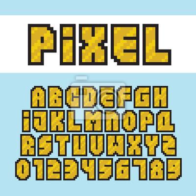 Papiers Peints Pixel Art Style Or Alphabet Et Chiffres Vector Ensemble De Polices