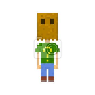 Pixel Personnage Homme Avec Sac Sur La Tete Avec Des Jeux Et Papier