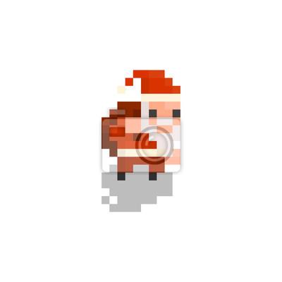 Pixel Personnage Santa Pour Les Jeux Et Applications Papier Peint