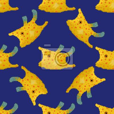 Pixel style de motif de cowfish Longhorn