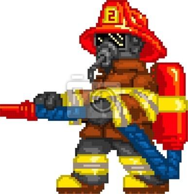 Papiers Peints Pixelart Pompier Avec Ax