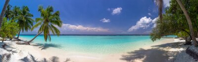 Papiers peints Plage, panorama, Maldives, bleu, ciel, paume, Arbres