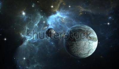 Papiers peints Planète extrasolaire. Stone Planet avec la lune sur la nébuleuse de fond. Illustration 3D