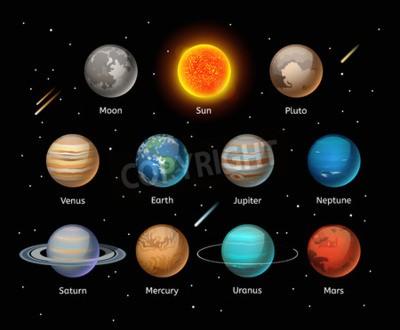 Papiers peints Planètes, coloré, vecteur, ensemble, sombre, fond, planète, vecteur, ensemble Planète icônes 3d éléments infographiques. Planètes collection silhouette. Planètes, Illustration, vecteur, 3D, icônes