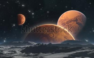 Papiers peints Planètes rocheuses et lune, fond de l'espace. Illustration 3d